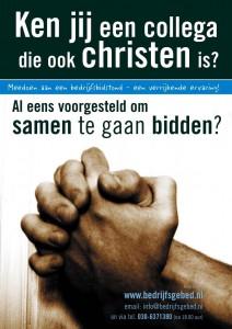 handen blauw poster bedrijfsbidstond